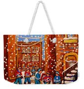 Hockey In The Laneway On Snowy Day Paintings Of Montreal Streets In Winter Carole Spandau Weekender Tote Bag