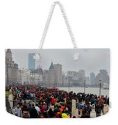 Holiday Crowds Throng The Bund In Shanghai China Weekender Tote Bag