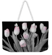 Holland Tulips In Black And White With Pink Weekender Tote Bag