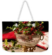 Holly And  Berries Weekender Tote Bag by Amanda Elwell