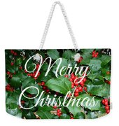 Holly Berries Merry Christmas Weekender Tote Bag