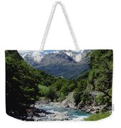 Hollyford River And The Eyre Range Weekender Tote Bag
