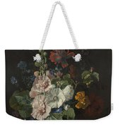 Hollyhocks And Other Flowers In A Vase Weekender Tote Bag