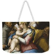 Holy Family With Saint Francis In A Landscape Weekender Tote Bag
