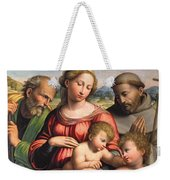 Holy Family With The Infant St. John The Baptist And St. Francis Weekender Tote Bag