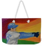 Home Run Swing Baseball Batter Weekender Tote Bag by First Star Art
