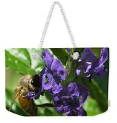 Honey Bee On Purple Flower Weekender Tote Bag