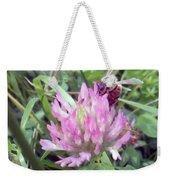 Honeybee Enjoying The Wild Purple Clover Weekender Tote Bag