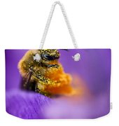 Honeybee Pollinating Crocus Flower Weekender Tote Bag