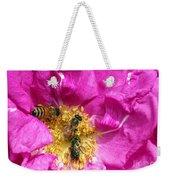 Honeybees On Pink Rose Weekender Tote Bag