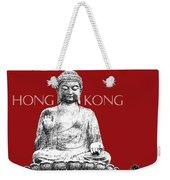 Hong Kong Skyline Tian Tan Buddha - Dark Red Weekender Tote Bag