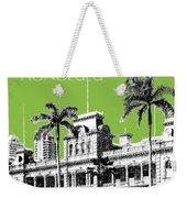 Honolulu Skyline Iolani Palace - Olive Weekender Tote Bag