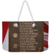 Honor The Veteran Signage With Flags 2 Panel Composite Digital Art Weekender Tote Bag