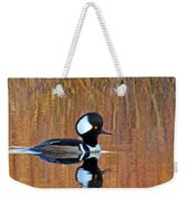 Hooded Merganser At Sunset Weekender Tote Bag