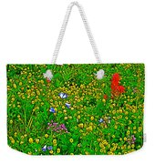 Hop Clover And Scarlet Paintbrush And Nodding Onion And Harebells Along Swiftcurrent Pass Trail-mt   Weekender Tote Bag