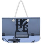 Hope And Chairs In Cyan Weekender Tote Bag
