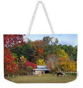 Horse And Barn In The Fall 3 Weekender Tote Bag