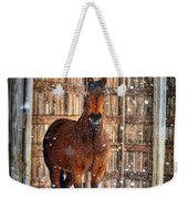 Horse And Snow Storm Weekender Tote Bag