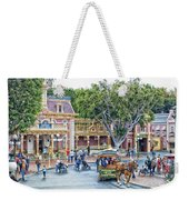 Horse And Trolley Turning Main Street Disneyland 01 Weekender Tote Bag