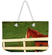Horse And White Fence Weekender Tote Bag