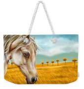 Horse At Yellow Paddy Field Weekender Tote Bag