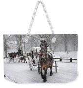 Horse Carriages In Snowy Park Weekender Tote Bag