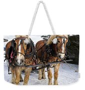 Horse Drawn Sleigh Weekender Tote Bag by Edward Fielding