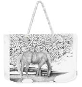 Horse In Snow Weekender Tote Bag