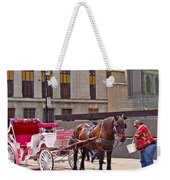 Horse Needs Water In Old Montreal-quebec-canada Weekender Tote Bag