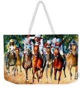 Horse Race - Palette Knife Oil Painting On Canvas By Leonid Afremov Weekender Tote Bag