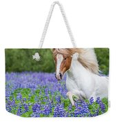 Horse Running By Lupines. Purebred Weekender Tote Bag