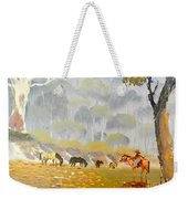 Horses Drinking In The Early Morning Mist Weekender Tote Bag