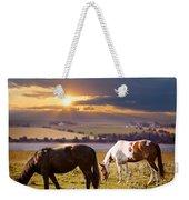 Horses Grazing At Sunset Weekender Tote Bag