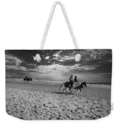 Horses On The Beach Bw Weekender Tote Bag
