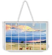 Horses On The Storm Large White Picture Window Frame View Weekender Tote Bag