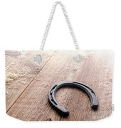 Horseshoe On Wood Floor Weekender Tote Bag