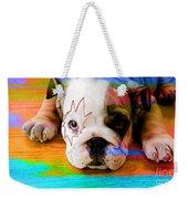 House Broken Bulldog Puppy Weekender Tote Bag