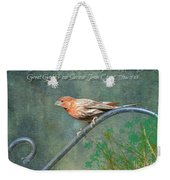 House Finch With Verse Weekender Tote Bag