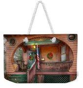 House - Porch - Metuchen Nj - That Yule Tide Spirit Weekender Tote Bag by Mike Savad