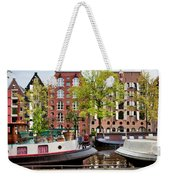 Houseboats And Houses On Brouwersgracht Canal In Amsterdam Weekender Tote Bag