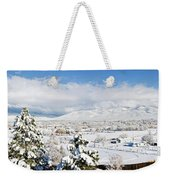 Houses And Trees Covered With Snow Weekender Tote Bag