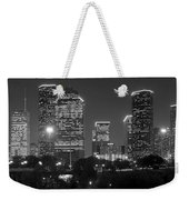 Houston Skyline At Night Black And White Bw Weekender Tote Bag