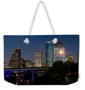 Houston Skyline At Night Weekender Tote Bag