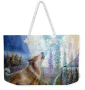 Wolf Howling And Full Moon Weekender Tote Bag