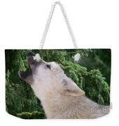 Howlling Arctic Wolf Pup Endangered Species Wildlife Rescue Weekender Tote Bag