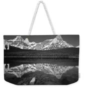 1m3643-bw-howse Peak Mt. Chephren Reflect-bw Weekender Tote Bag