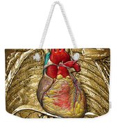 Human Heart Over Vintage Chart Of An Open Chest Cavity Weekender Tote Bag