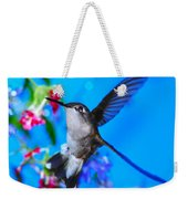 Hummer And Flowers On Acrylic Weekender Tote Bag