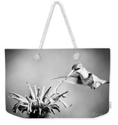 Hummingbird Black And White Weekender Tote Bag