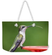 Hummingbird Sticky Her Tongue Out Weekender Tote Bag
